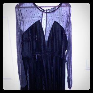Mesh long sleeve plus size velvet dress